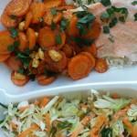 łosoś z pikantnymi marchewkami